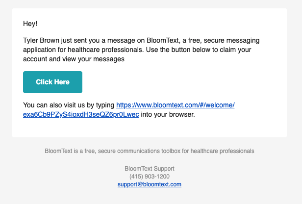 BloomText invitation email